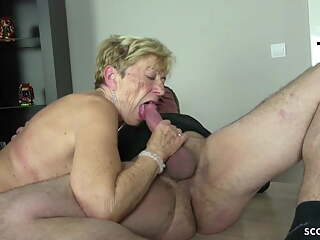 OLD GRANDMA SEDUCED 2 GUYS TO FUCK ON HER BIRTHDAY