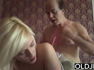 Pprincess sex doll fucks old man, blowjob and cock