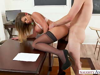 BROOKLYN CHASE in black stockings gets hard fucking