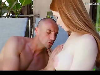 Busty redhead gets creampied. Hot cute slut fucked