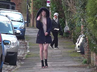 Hot in Heels and a Hood - British public flashing - Part Two