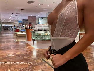 Shopping while wearing lingerie