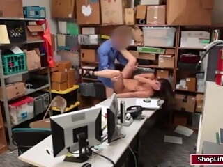 Shane Blair caught stealing and gets her pussy fucked by officer