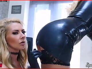 British Milfs Lynda and Lucy enjoy dildo pussy fuck in latex