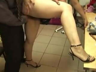 Russian old whore fucked in the store