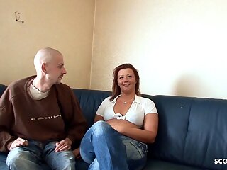 German Redhead BBW Amateur Wife Fucks Tiny Neigbour and Pees