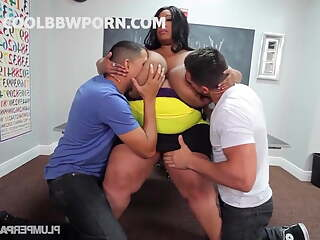 black fat teacher in threesome