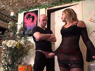 French Slut in Black Stockings gets Fucked by Two Cocks