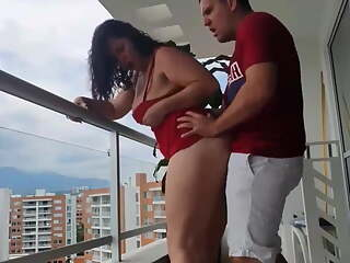 Delicious anal fuck on the balcony of her house + cumshot