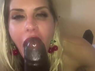 German Married MILF Gives Brown Cock Blowjob