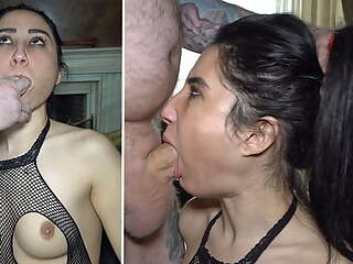Rough facefucking for Romanian porn star Andra Brazil