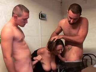Busty French brunette gets assfucked by two guys
