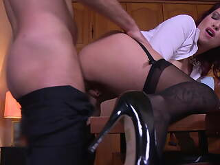 Secretary JULIE VALMONT in black stockings gets fucked hard