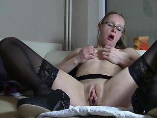 Dumb German whore with glasses uses toys and talks dirty