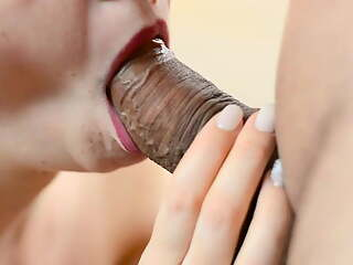 Pulsating oral creampie. Close-up blowjob