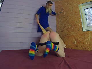 Female Priest spanking and flogging her slave