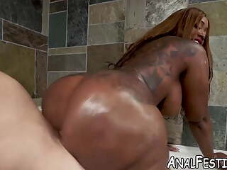 Ebony Victoria Cakes twerks on dick while getting doggystyle pounded