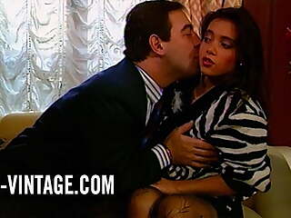 Hot brunette Solange in vintage anal quickie