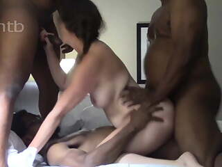 White Wife Takes Three BBCs In All Holes