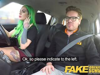 Fake Driving School – Wild ride for tattooed busty beauty