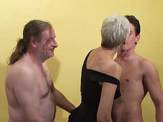 Hungry granny takes young and old cocks