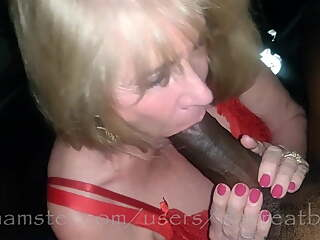 Granny sucks her first big black 10in cock