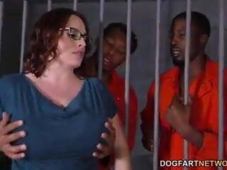 BBW Jail house gang bang