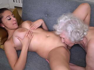 Old hairy granny spoiling busty babe