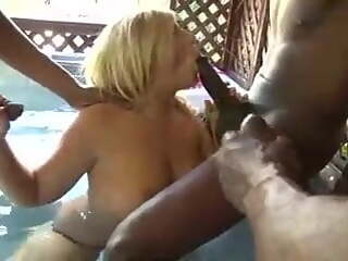 Shocked Woman in Gangbang with Neighbor's Black Cock